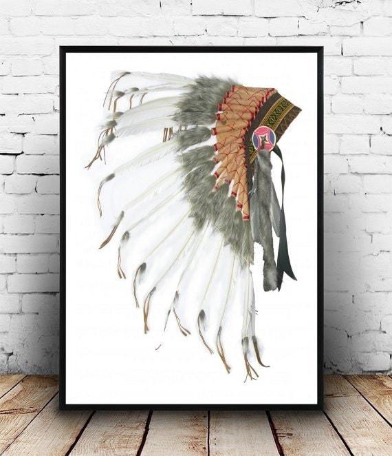 native american headdress printable art tribal by. Black Bedroom Furniture Sets. Home Design Ideas