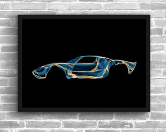 Ford Gt40 Art Wall Art Classic Car Man Cave Gift For Him Automotive Art Car Art Home Decor Ford Gt40 Décor Ford Gt40 poster Ford Gt40 Print