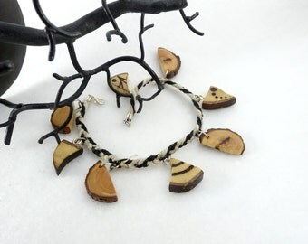 Wooden anklet, little wooden pyrographed pieces and hemp cordons