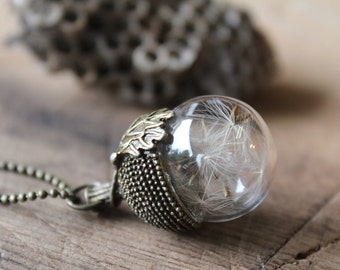 Dandelion necklace, Acorn glass vial, Acorn necklace, dandelion seeds bottle, make a wish
