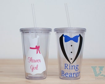 Flower Girl Gift - Ring Bearer Gift - Set of Two - Ring Bearer Tumbler - Flower Girl Tumbler - Sign Bearer Gift - Wedding Party Gifts Kids