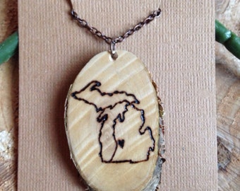 Personalized Michigan Wood Pendant