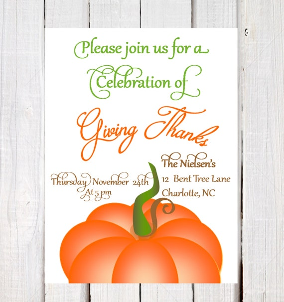 Thanksgiving Invitation Thanksgiving Day Invitations