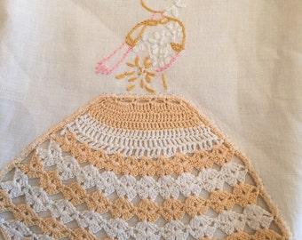 Hand crocheted southern belle pillowcase