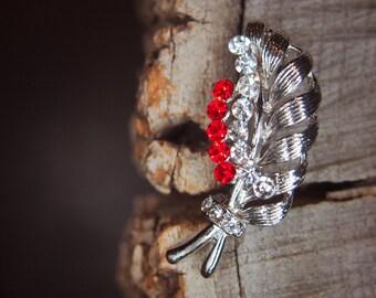 Leaf Brooch antique vintage styled, bridesmaid, rhinestone diamante, wedding, mothers gift, men lapel, enamel, hijab #5738