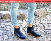 SALE - Classon - Womens Ankle Boots, Womens Leather Boots, Chelsea Boots, Navy Boots, Casual Style, Custom Boots, FREE customization!!!