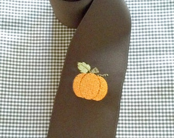 Embroidered Ribbon - 1 Yard Brown Grosgrain Ribbon with Embroidered Pumpkin