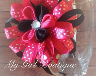 Flower Style Bow with ribbon lined Headband...Girls Headbands...Baby/Infant Headbands...Adult Headbands