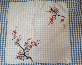 French silk scarf cherry blossom in spring