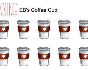 EB Hand Drawn Coffee Cups - 49 Glossy Planner Stickers