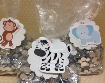 Zoo Animals Party Favor and Candy Bags with tags - Set of 10