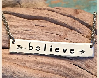 Believe-sterling silver stamped bar necklace
