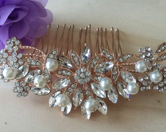 Gold Wedding hair comb, Gold Pearl bridal hair comb, bridal hair accessories, wedding hair accessories, crystal hair comb, vintage comb