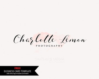 Photography logo design - Watercolor logo - premade logo - photography watermark Logo - DIY psd logo calligraphy font included