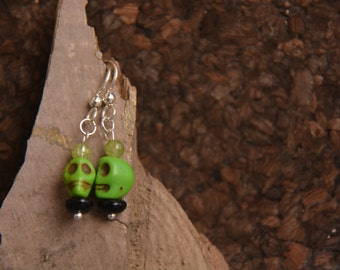 Green Skulls with Peridot and Black Glass Rondelle Bead Sterling Silver fun Halloween Earrings.  Thank you.