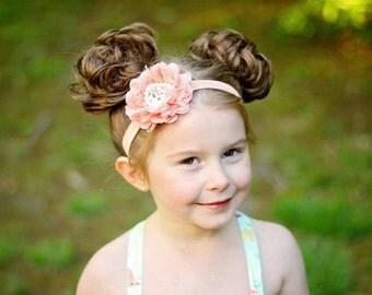 Girls headband - peach headband - flower headband - lace headband - bling headband - girls hair band - flower hairdband - girls hairband