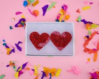Acrylic Glitter Heart Earrings