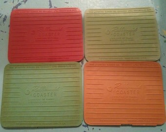 Vintage Rubbermaid Miniature Kar-rug Coasters Wooster Rubber Co. Canada and Ohio. Retro Barware