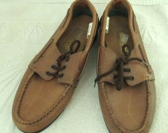 Mens Vintage 80's Brown Colored BOAT SHOES By RCNSI.7