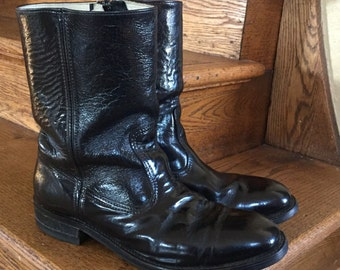 Mens Vintage Boots - Black Leather Boots - Size 9.5 - Workn' Sport Boots - Motorcycle Boots - Work Boots