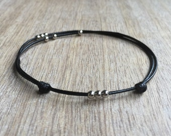 Black Beaded Anklet, Waxed Cord Anklet, Adjustable Anklet, Waterproof WA001039