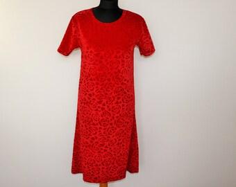 Crimson Red Velvet Dress Maxi Dress Velvet Coctail Party Dress Roundneck  Velvet Bodycon Samt Dress Size Medium Size