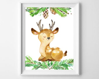 Woodland Nursery Print, Printable Wall Art, Little Deer Art Print, Nursery Art