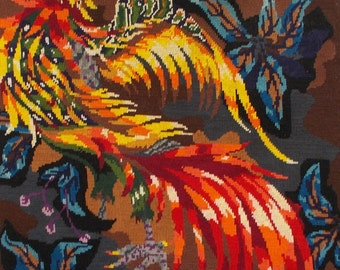 Vintage French 'Fire Bird' Needlepoint Tapestry Hand Sewn.  Lurçat Picart le Doux Style  (4610)