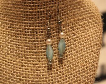 blue beaded earring