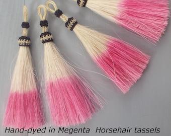 MAGENTA, Horsehair tassel, hand-dyed, perfect, horsehair necklace tassel, horsehair jewelry,  NEW COLOR, horsehair tassel, boho tassel