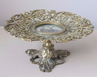 Antique Ornate Bronze Taza Compote with Reverse Painting on Glass Centerpiece