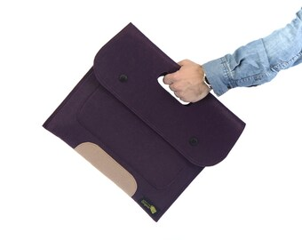 Feltfolio felt sleeve carrying bag, felt laptop bag, felt Portfolio, Felt Office Bag (Express Shipping)