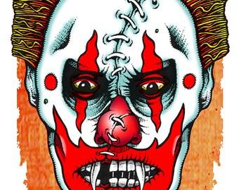 11 x 17 print, zombie, evil, clown, mutant, freak, Louisville, Jeff, Gaither,  autographed, signed, giclee