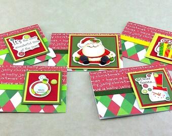 Christmas Note Card, Santa Christmas Cards, Box Set Notecards, Handmade Notecard, Merry Christmas Cards, Blank Note Card, Holiday Cards