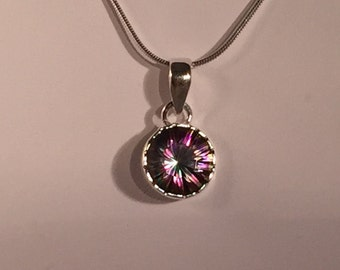Sterling Silver Round Mystic Fire Topaz Pendant
