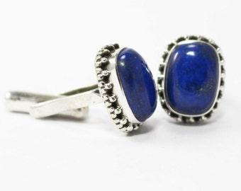 Fabulous Lapis Lazuli Cufflinks 925 Sterling Silver Blue Casajewels C228