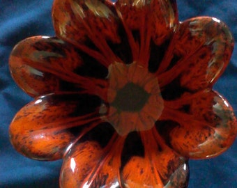 Vintage Evangeline Pottery petal-shaped bowl in orange and black drip glaze