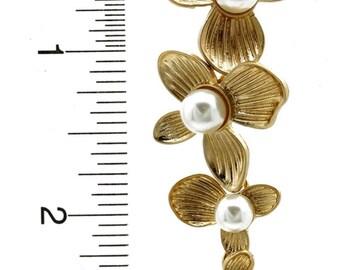 LAYERED FLOWER DANGLE Earrings (Gold)