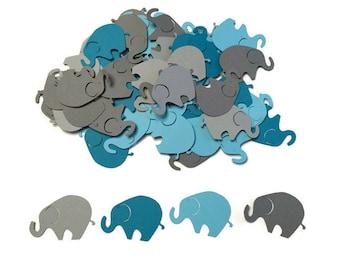 100 Assorted Grey and Teal Elephant Confetti, Die Cut Elephant, Baby Shower, Elephant Theme Party, Elephant Décor, Elephant birthday party