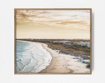 sunset ocean print, sunset photo, printable sunset, coastal print, arial beach photo, retro beach, peach decor, ocean print, arial print