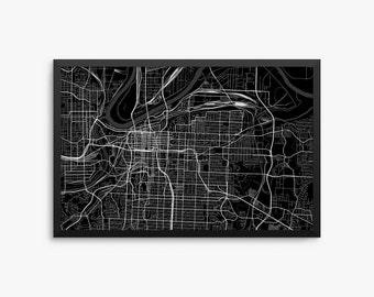 Kansas City Street Map Kansas City Missouri Usa Modern Art Print Kansas City