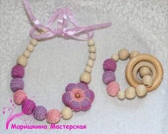 Crochet flower nursing jewelry flower necklace teether teething necklace nursing necklace teething breastfeeding babywearing chewelry