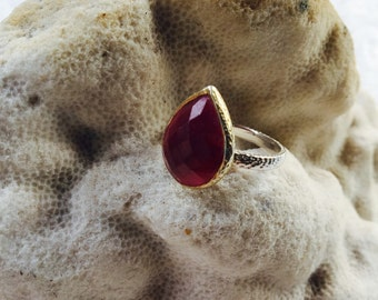 RICH RUBY RED - Sterling Silver and Gold Plated Ring