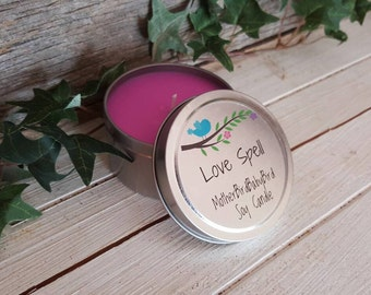 Love Spell Soy Candle - Pink, Tin.
