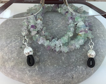 Gemstone Fluorite Chip Glasses Chain Green and Purple Tones Spectacles Lanyard