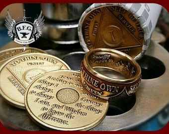 AA Sobriety Anniversary Recovery Bronze Coin Ring