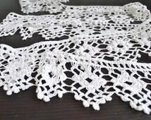 """84.64"""" Vintage Crochet Edging, Towel Edging, Antique trim White Lace, Handmade lace trim, Towel Trim, Length of Vintage Trimming Lace"""