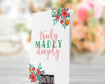 Truly Madly Deeply Pastel Pink Green Flowers 5x7 inch Folded Greeting Card - GC1007
