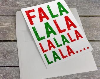Fa La La La Red and Green 5x7 inch Folded Christmas Greeting Card - GC1121