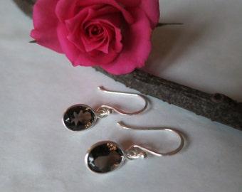 Smoky quartz earrings set in sterling silver, faceted gemstone